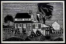 Vintage JACK MARKFIELD Signed EDGAR ALLAN POE COTTAGE Modern Art WOODCUT PRINT