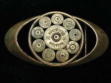QF05171 VINTAGE 1970s **WINCHESTER 10GA & 30-08 SHELLS** OLID BRASS BELT BUCKLE