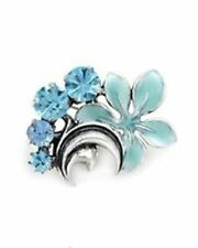 PILGRIM SKANDERBORG DENMARK Silver Tone Crystal and Blue Enamel Flower Brooch