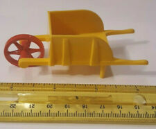 OLD VINTAGE HARD PLASTIC  DOLL HOUSE GINNY RED YELLOW WHEEL BARROW TOY