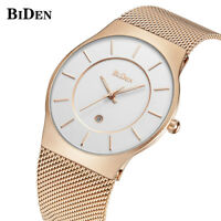 BIDEN Men Waterproof Ultra Thin Quartz Wrist Watch Stainless Steel Band Gift