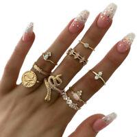 9Pcs Boho Vintage Crystal Ring Set Geometric Finger Knuckle Midi Rings JewelrR3C