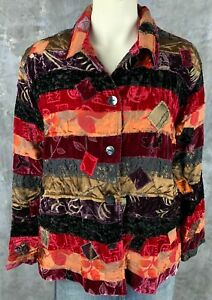 Chicos Multi Colored Velvet Embroidered Patchwork Jacket sz 3 (9756)