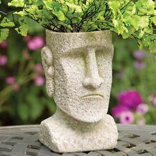Easter Island Stone Face Garden Planter Pot Statue Sculpture Lawn Yard Art