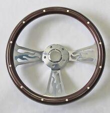 "Jeep Wrangler YJ CJ5 CJ7 Cherokee Mahogany Billet Flame Style Steering Wheel 14"""