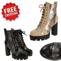 Women's Fashion Platform Boots Punk Chunky High Heel Lace Up Combat Motor Bootie