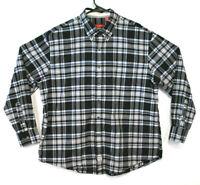 Izod Shirt Long Sleeve Black Grey Blue Plaid Size XL Mens (173)
