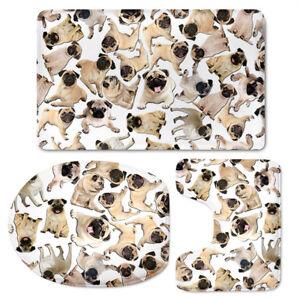 Fashion Animal Design Toilet Seat Cover Set Decoration 3 pcs Shower Bathmat Rugs