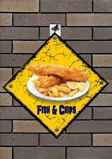 Retro Style Fish & Chips Advertising Sign Restaurant sign, Tea Rooms Cafe Sign