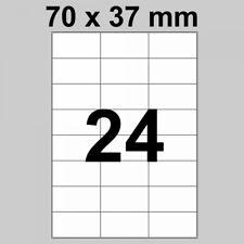 Etiketten auf DIN A4 Bogen - 70 x 37 mm - 2.400 Stück - 100 Bogen