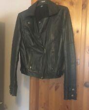 womens black leather biker style jacket size 10.