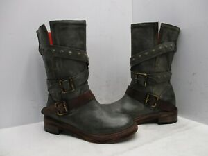 Bakers Italy Gray Leather Engineer Biker Mid Calf Boots Womens Sz 37 EUR