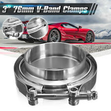"""3"""" V Band Clamp 76mm Stainless Steel Turbo Downpipe Female Male Flange Kits"""