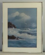 Signed Print of Ocean Shore Painting Matted Framed Rocky Coastline by Gregg
