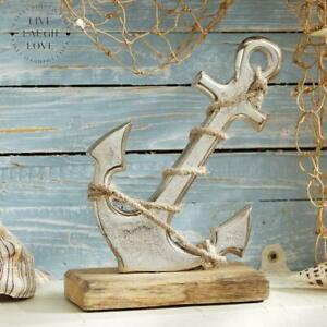 Anchor On Wooden Base Shelf Sitter