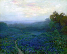 Texas Bluebonnets Landscape Oil painting Printed on Canvas 16X20 Inch P1206