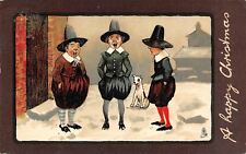 Christmas~Dog & Puritan Pilgrims in Short Pants Sing In Snow~Brown Border~TUCK