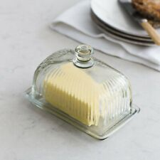 Retro Style Glass Reeded Butter Dish Garden Trading Vintage Kitchen Clear