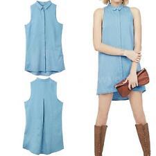 Denim Mini Collar Sleeveless Dresses for Women