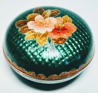 1900's Antique Japanese Cloisonné Green and Blue with Floral Design Trinket Box