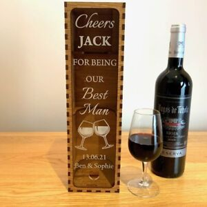 Personalised Gift for Him Best Man Groomsman Usher Wine Box Wedding Thank You