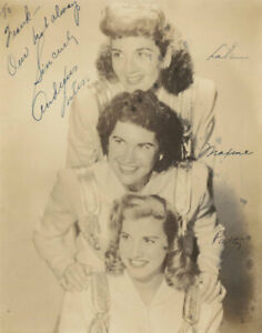 Photograph The Andrews Sisters with all 3 Original Signatures