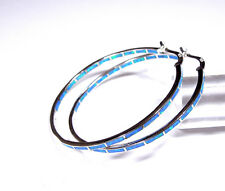 grande argento sterling 925 INFINITO cerchio orecchini con / Blu Opale di fuoco