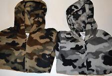 Toughskins Boys Fleece Jacket/Zip Up Hoodie Sizes S M L Green or Gray Camo Nwt