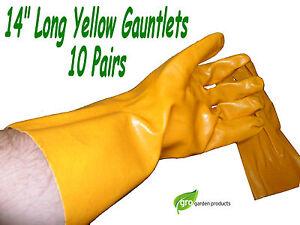 "PVC Gauntlets gloves 14"" - 10 prs chemicals bleach dirty wet liquid pond sewage"