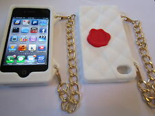 White Cliche Purse Style Silicone iphone 4 4G 4S Full Back Protective Case NEW