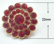 2 Red Grade A Crystal Rhinestone Gold Round Buttons Embellishments 22mm M0254