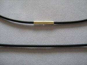 schwarze Kautschuk Kette 585er Gelbgold Bajonettverschluss 2 mm stark jede Länge