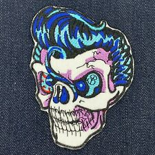 """ROCKABILLY ELVIS SKULL VINTAGE STYLE PATCH IRON ON 3"""" X 4"""" FREE SHIPPING"""