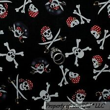 BonEful Fabric FQ Cotton Quilt Black White B&W Red PIRATE Skull Cross Bone Scarf