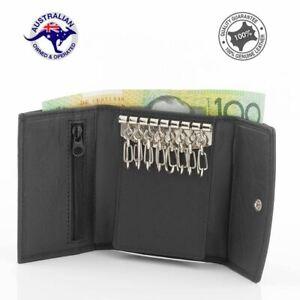 Genuine Full Grain Leather Key Holder Case 8 Keys Wallet Black 079K-8