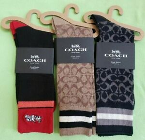 COACH MEN'S SOCKS SIGNATURE(176),HORSE & CARRIAGE (C2536) CREW:NWT BLACK, KHAKI