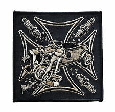 Biker Chopper riforma School Girl Pin Up Retro Vera Pelle ricamate LEATHER PATCH