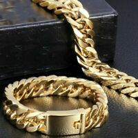 Polished Men's Gold Tone Heavy Stainless Steel Curb Chain Bracelet Bangle Gift h