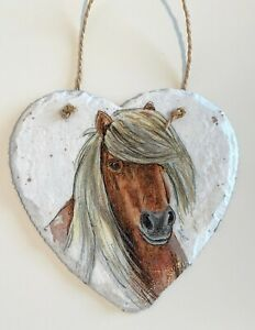 Beautiful, Horse, pony hanging heart slate gift home decor, equestrian, animals