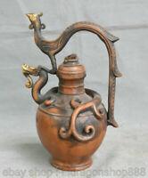 """11,2 """"vieux chinois Dynasty Palace en cuivre Phoenix Dragon Beast Stoup Pot de"""