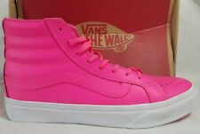 Vans New Sk8 Hi Slim Pink Neon Leather True White Skate Shoe Women Size 6.5