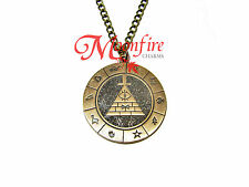 GRAVITY FALLS BILL CIPHER ZODIAC PENDANT NECKLACE BRONZE PLATED WHEEL DIPPER