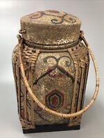 "Vintage Decorative Wicker Wood Storage Basket with Lid 15"" Tall AA"
