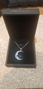Blanche Jewellery Silver Colour Swarovski Crystals Moon And Star Necklace BNIB