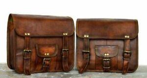 Motorcycle saddlebag 1Pair leather saddlebags Panniers Brown Design Indian New