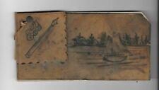 Vintage Leather Blotter Cover w Pen Wipe sailboat scene