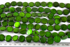 GR045 - Flat Round Dark Green Shell Beads - 15mm x1 strand (26pce) - 36g