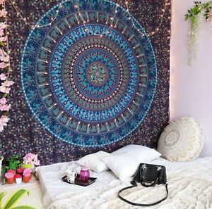 Indian Handmade Pure Cotton Tapestry Hippie Mandala Size Bohemian Psychedelic