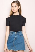 New! brandy melville Black Ribbed Cold Shoulder Cut Out Finly Crop Top Nwt