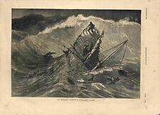 Naufrage Bateau Pêcheur Bretagne Coulant à Pic de Kerlez Peintre GRAVURE 1881